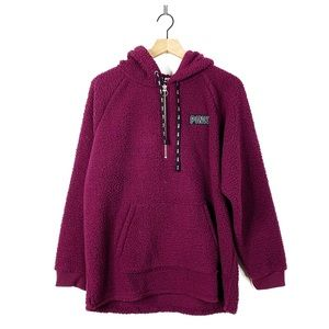 PINK Merlot Sherpa Fuzzy Hooded Pullover Sweater L